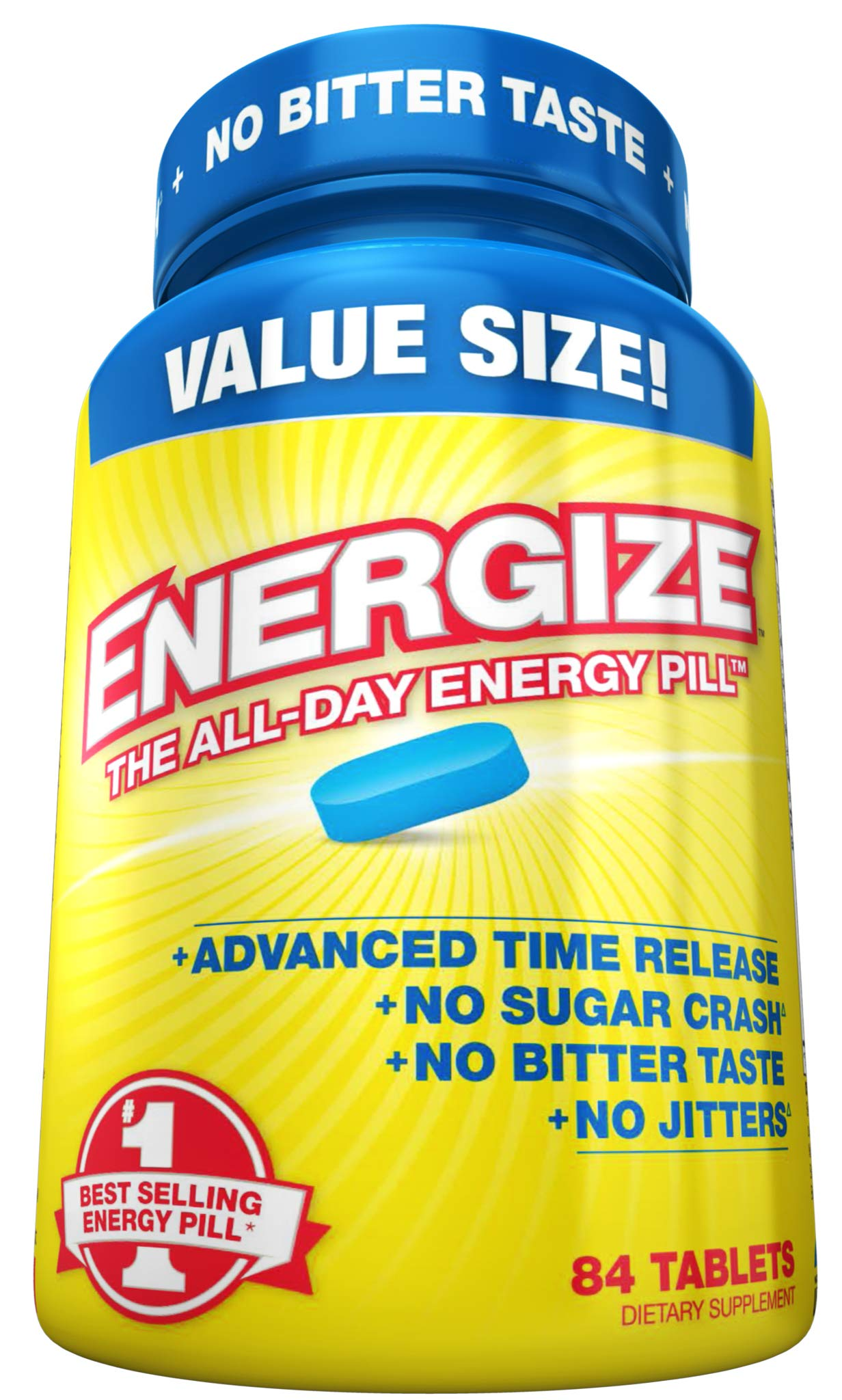 Energize Caffeine Energy Pills - Healthy Focus Brain Supplement - Improve Performance, Increase Alertness and Clarity - Smooth All Day Energy, No Jitters, No Crash - 84 Time Released Tablets by iSatori