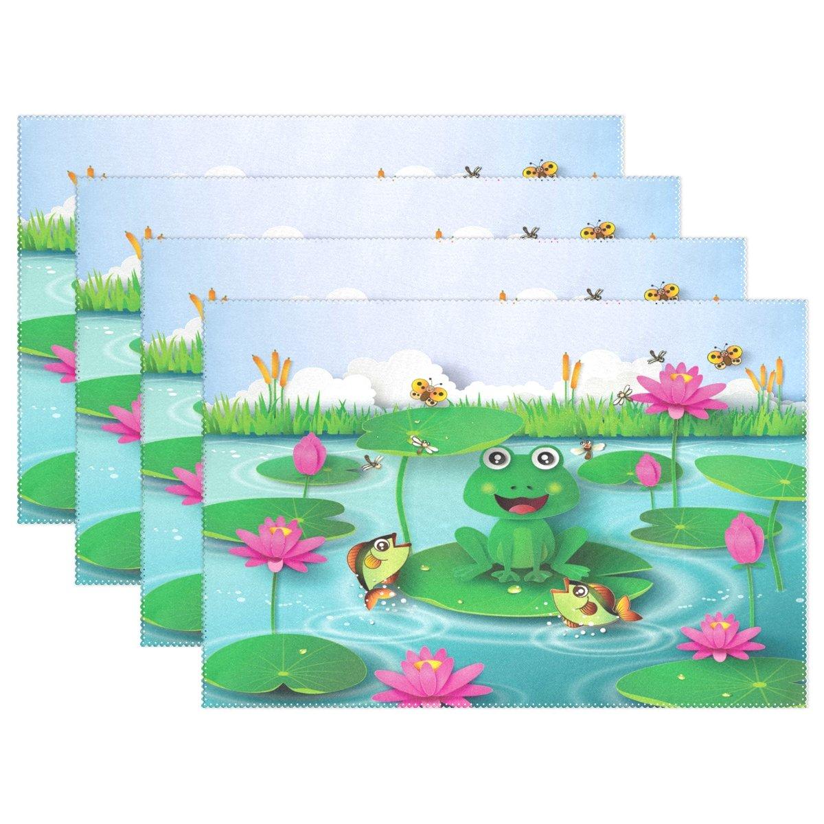 Wozo Frog池Water Lilyプレースマットテーブルマット12