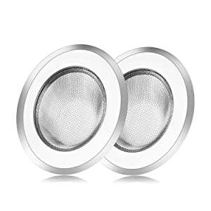 HMbest Kitchen Sink Strainer 2 Pack 4.5'' Diameter Durable & Rust Proof Stainless Steel Wide Rim & Easy Installation Keep Plumbing Pipes Clean Prevent Food Particles From Clogging Your Sink Fine Mesh