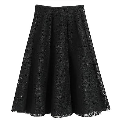 Niyatree Women's A-line High-waist Midi Skirts Autumn & Winter Vintage Lace Flared Skirts