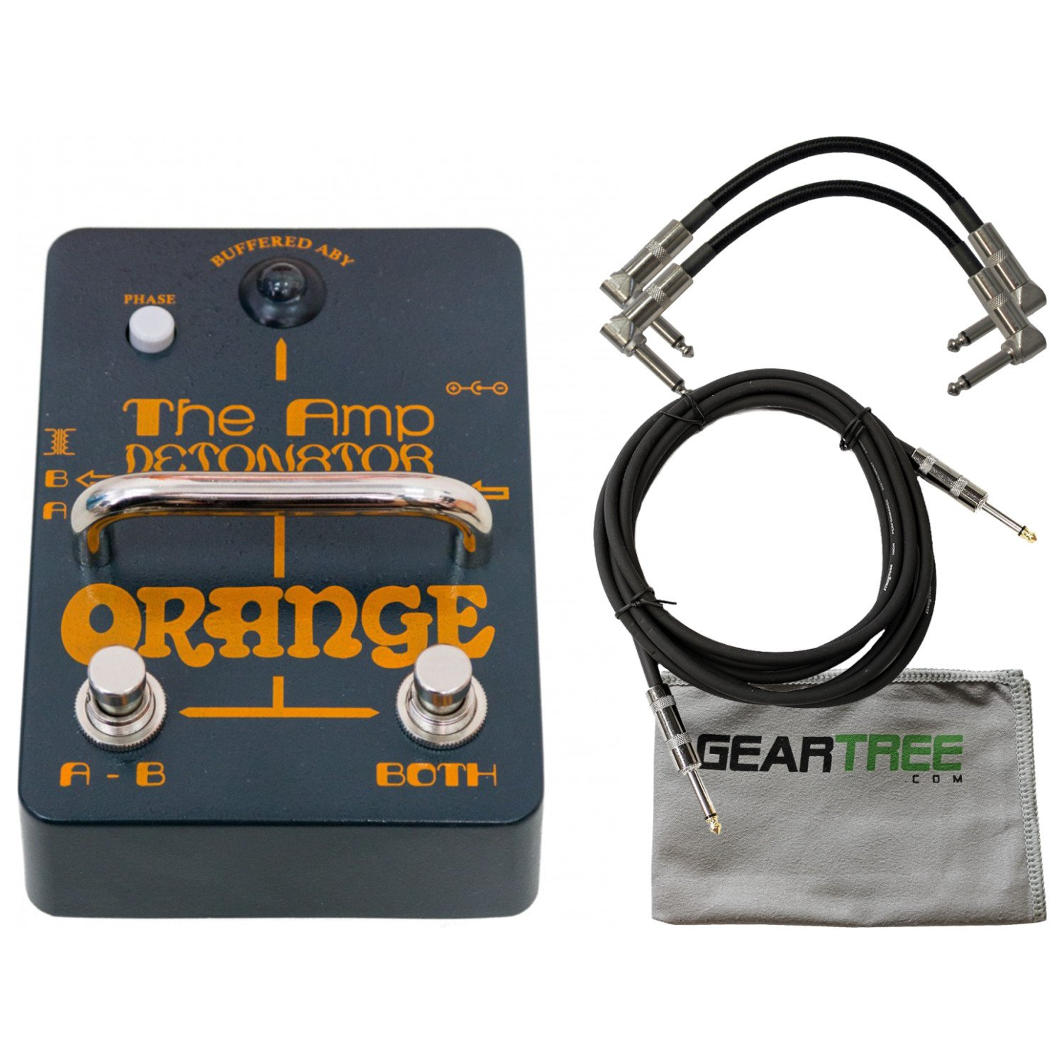 Orange AMP-DETONATOR Buffered Active ABY Stomp Box w/Cleaning Cloth and 3 Cable