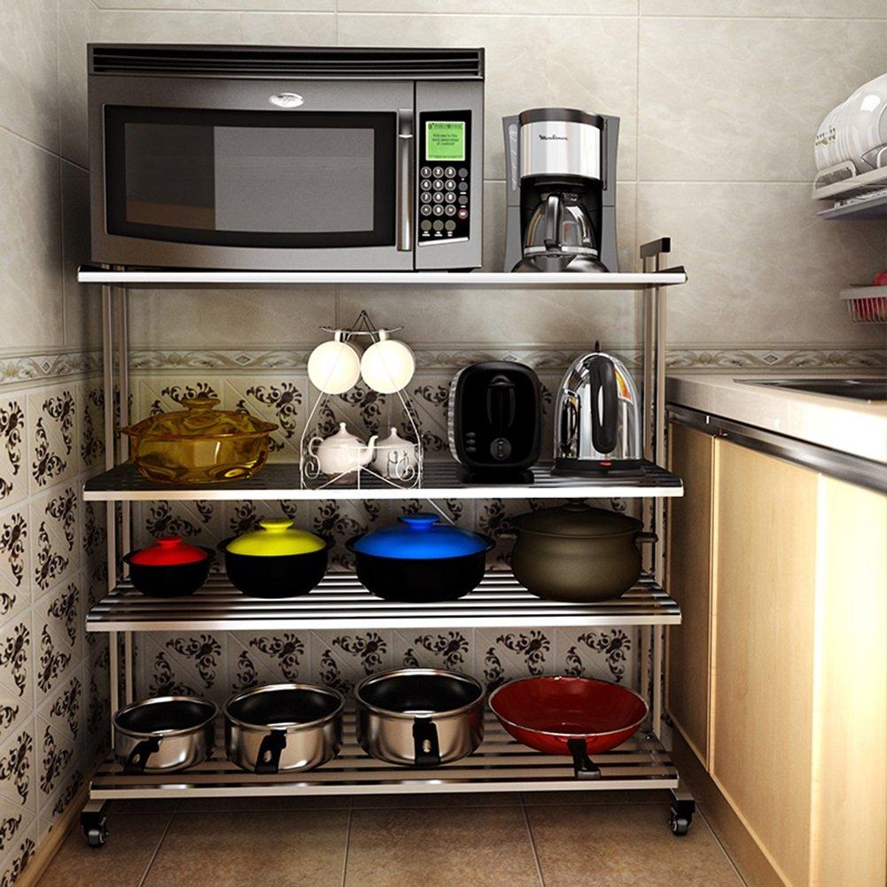 Estantes y soportes para ollas y sartenes HWF Estante de Horno de microondas Organizador de Cocina Estantería de pie Libre Estante de Almacenamiento Acero ...