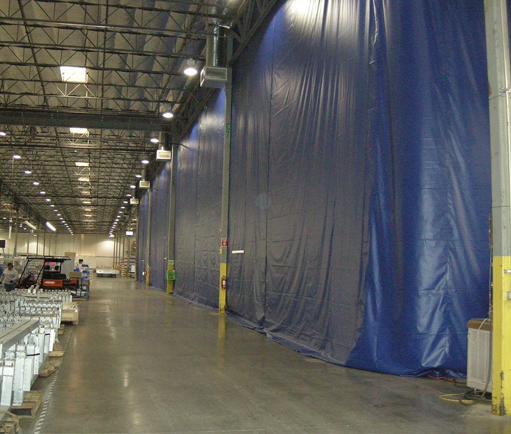 1 Color: Blue - 18 oz Fire Rated Curtain Hardware Included Threaded Rod Kit Width 14 ft Strip-Curtains.com: Warehouse Divider Industrial Curtain X Height 10 ft
