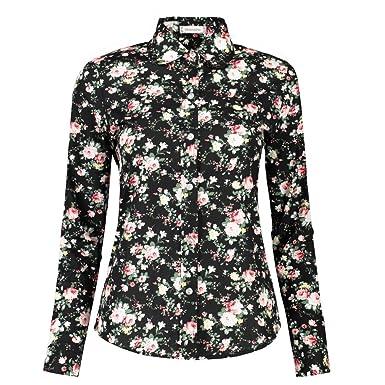 4661b817c66c DOKKIA Women's Tops Tropical Casual Blouses Long Sleeve Work Button Up  Dress Beach Aloha Hawaiian Shirts