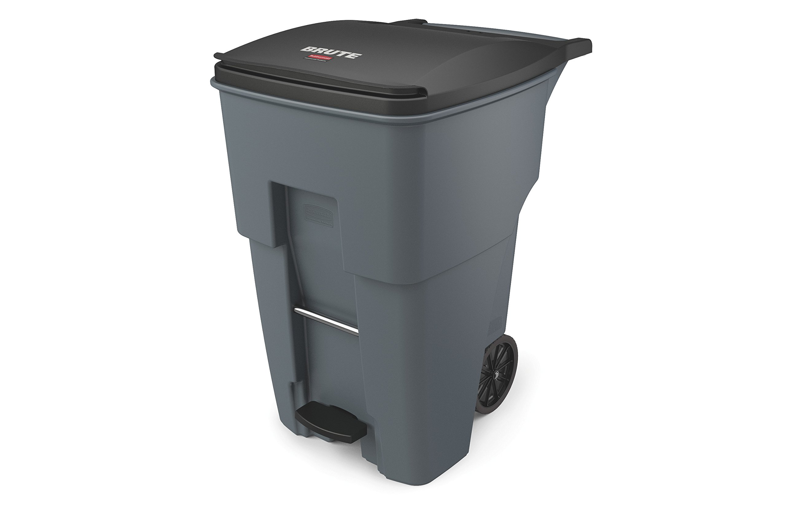 Rubbermaid Commercial 1971991 Brute Step-On Rollout Trash Can, 95 gal/360 L, 46.020'' Height, 28.600'' Width, Gray