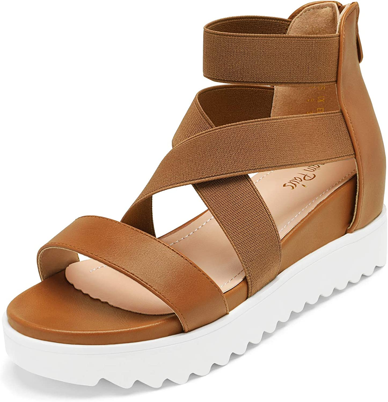 DREAM PAIRS Women/'s Ankle Strap Open Toe Platform Wedge Heel Wedge Sandals