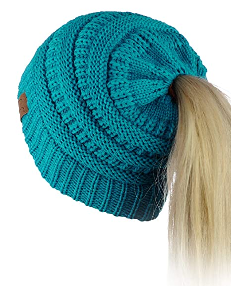 C.C BeanieTail Soft Stretch Cable Knit Messy High Bun Ponytail Beanie Hat, Teal best ponytail beanies