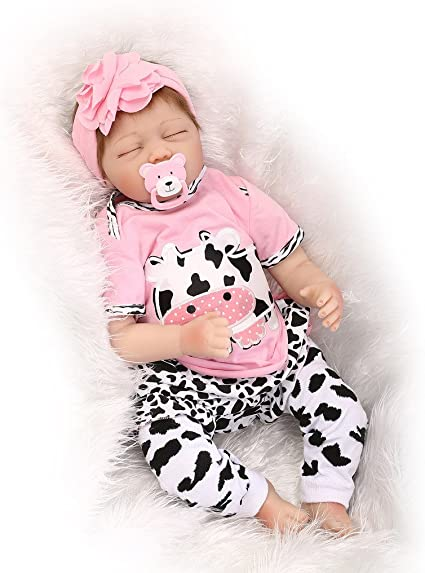 55cm Sleep White Bear Nicery Reborn Baby Doll Soft Silicone Girl Toy 22in