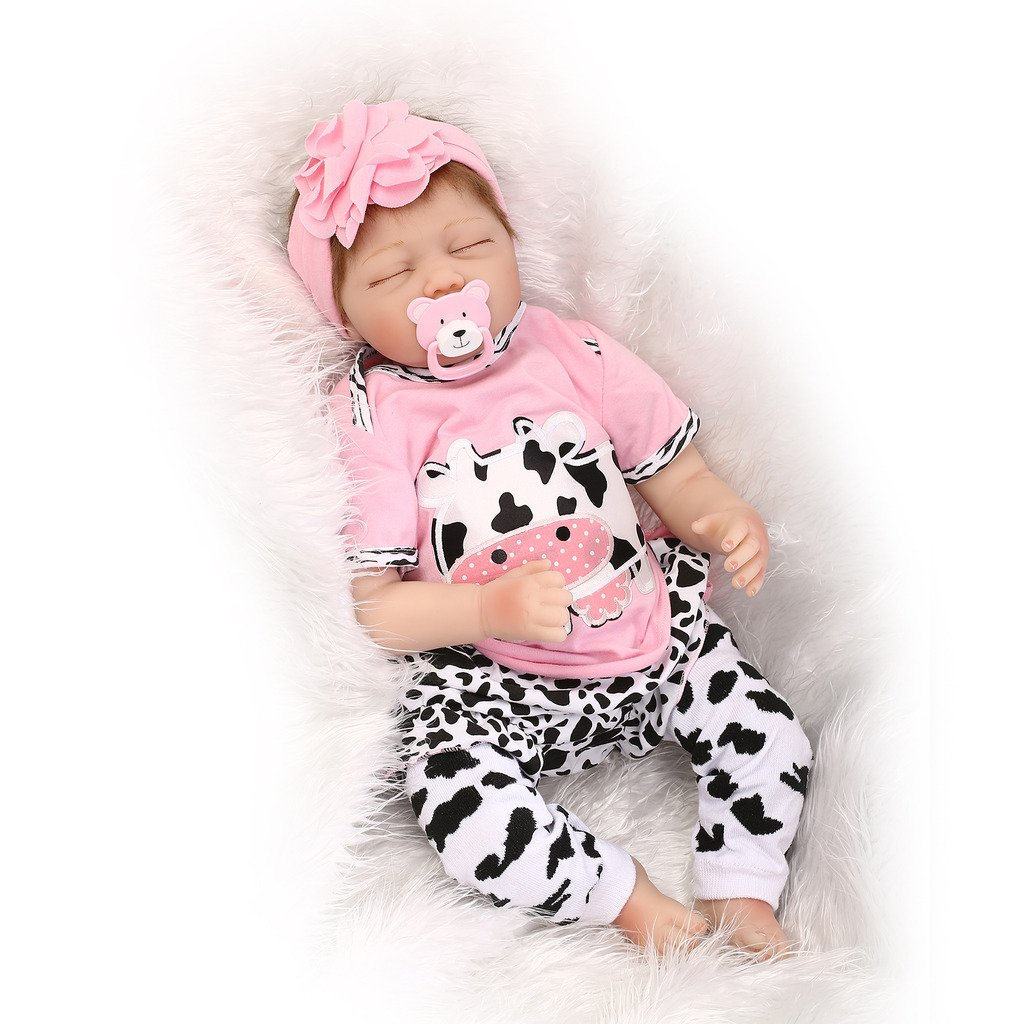 Nicery Reborn Baby Doll Soft Simulation Silicone Vinyl 22inch 55cm Magnetic Mouth Lifelike Boy Girl Toy Pink White Dairy Cow