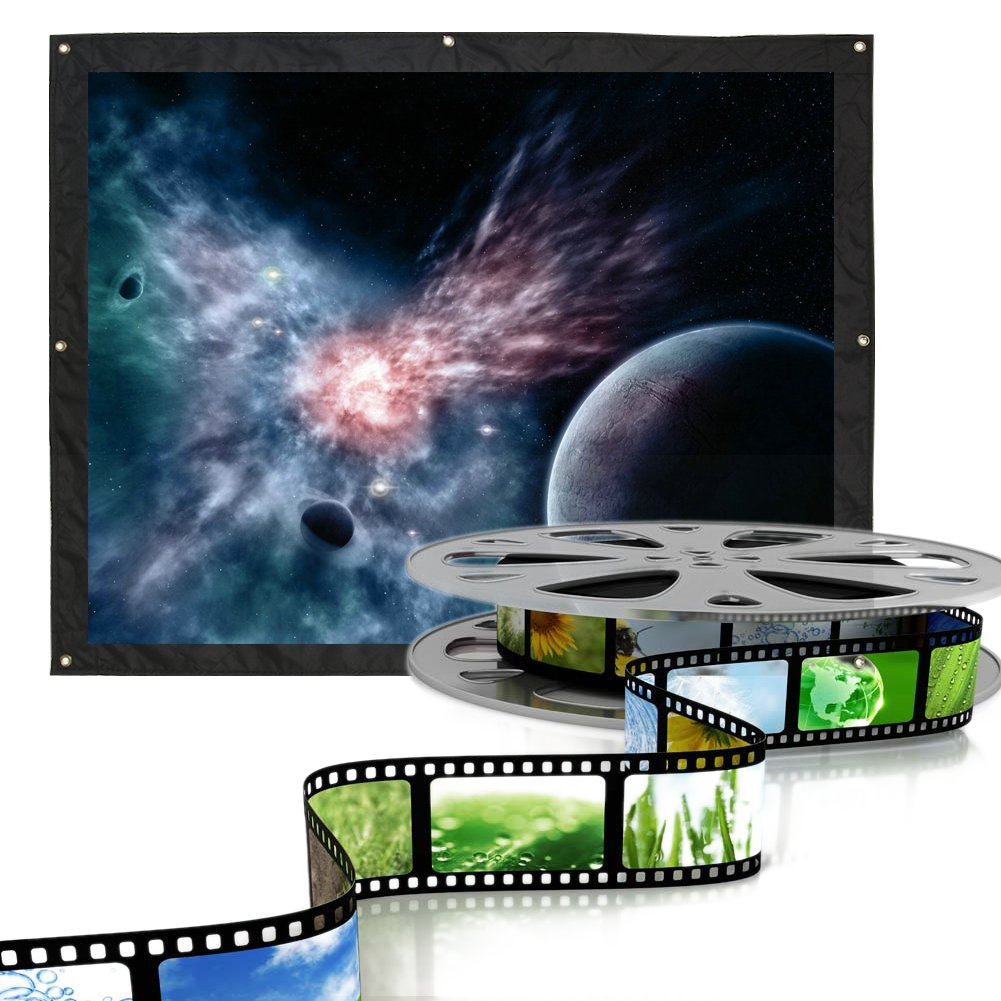 72 Fosa 4:3 Indoor Outdoor Film Theater Movie Projection Screen Curtain Projector Matte White