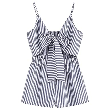 925012c3bb6c ZAFUL Women s Summer Striped Cami Tie Front Romper (Denim Dark Blue ...