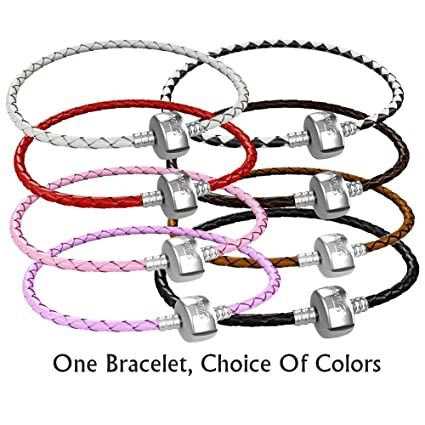 ba0735f15 Amazon.com: Braided Leather Charm Bracelet For Women, Fits European Charms,  Barrel Snap Clasp, Pink 7.5 Inch: Arts, Crafts & Sewing
