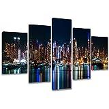 Visario 6309–Quadro su tela con immagine di New York 5pezzi marca originale, 200x 100cm