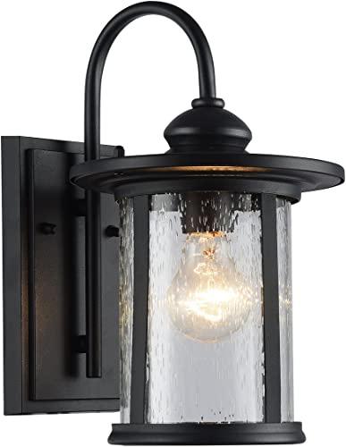Edvivi 1-Light Black Outdoor Wall Lantern Textured Black, Medium