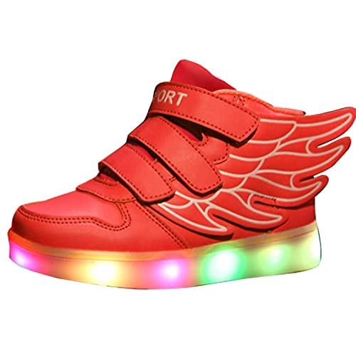 721c7029918e8 Maybest Kids Boys Girls LED Light Up Sneakers Athletic Wings High Shoe  Dance Boot