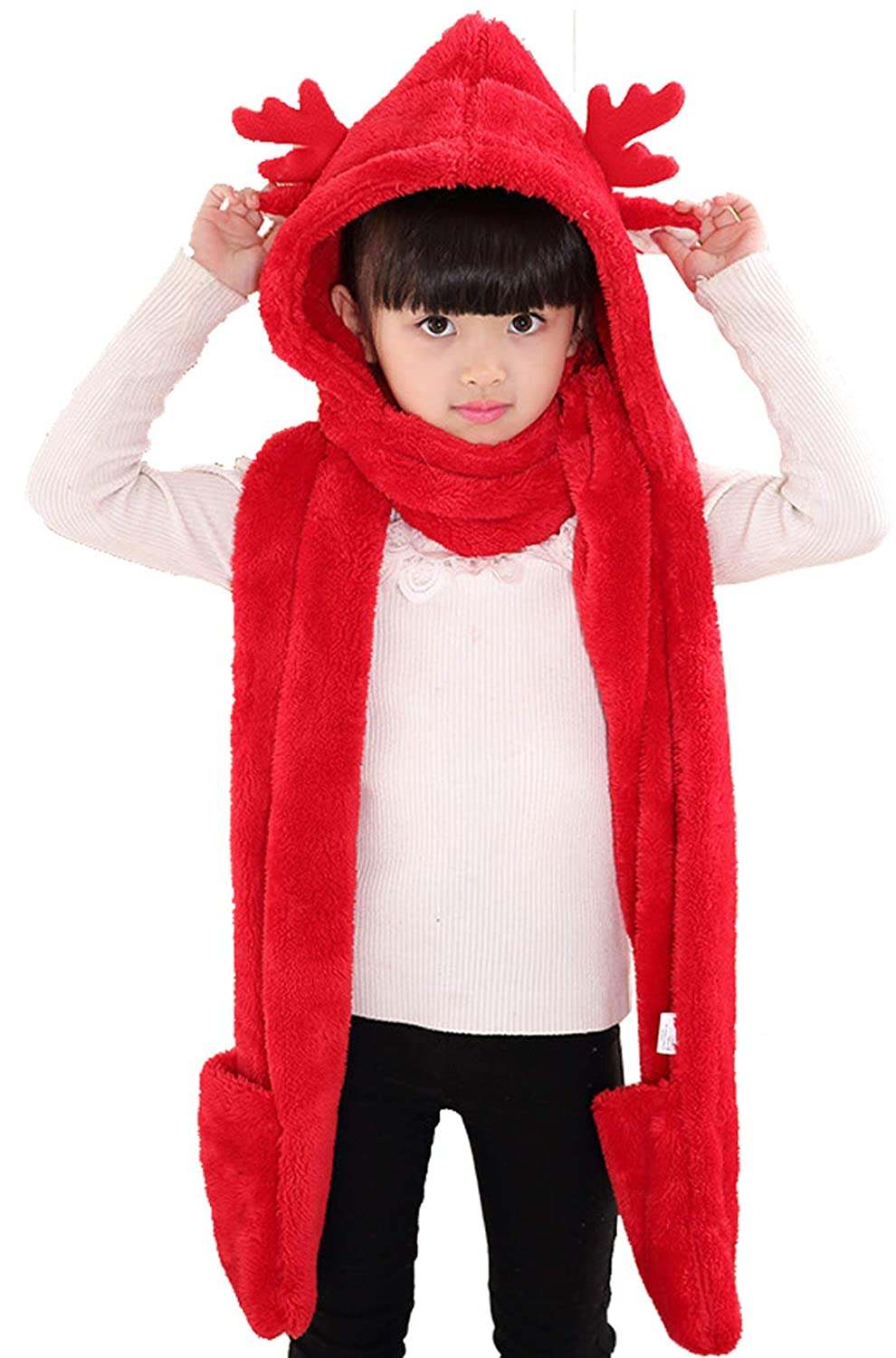 Christmas Antlers Hat Scarf Gloves Cute Winter Soft Fleece Hoodie Long Scarfs Earflap for Boys Girls Happy Cherry