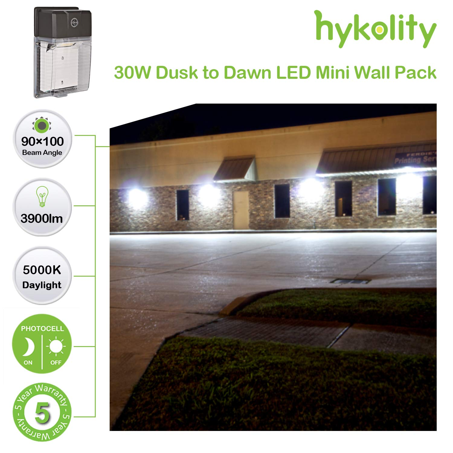 3900lm 5000k DLC Complied-2pack 150W HPS//HID Eq. Hykolity 30W LED Mini Wall Pack Light with Photocell Dusk to Dawn Outdoor Wall Mount Light Fixture