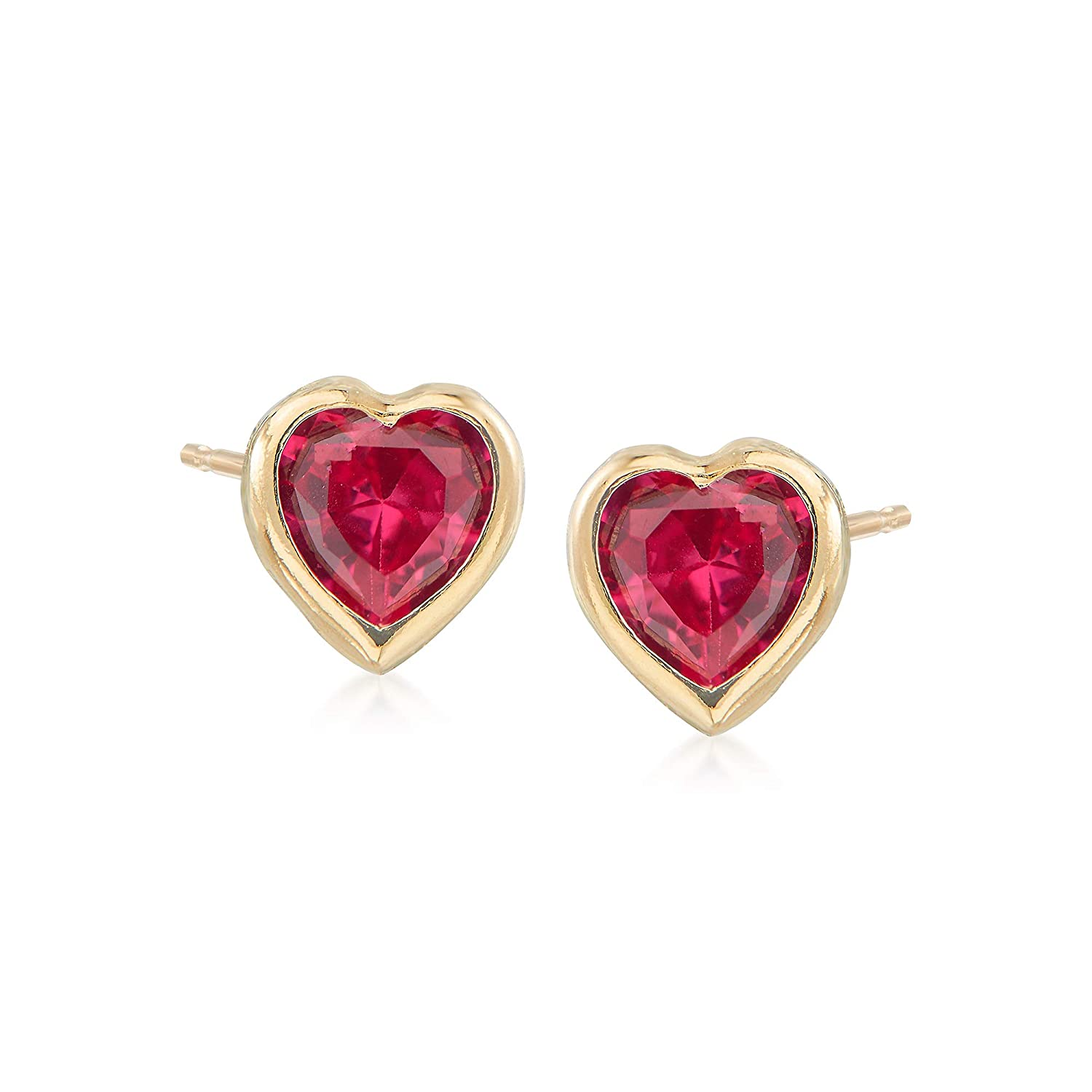 Ross-Simons Childs Simulated Ruby Heart Stud Earrings in 14kt Yellow Gold