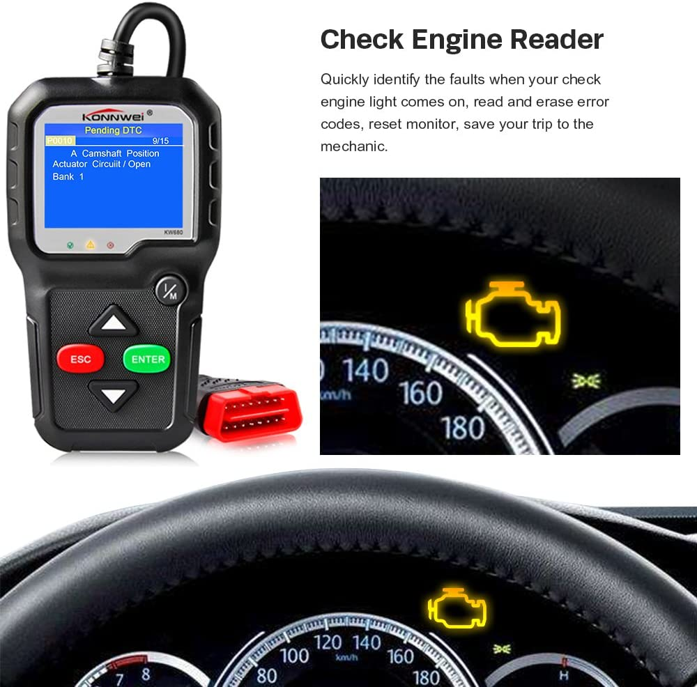 KONNWEI OBD2 Scanner Car Code Reader KW680 Enhanced Check Engine Light Scan Tool OBD II Scanner for Cars After 1996