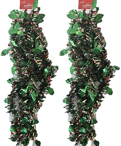 9 FT Green 2 Inch Tinsel Garland Valentines Day Christmas Decoration Crafts