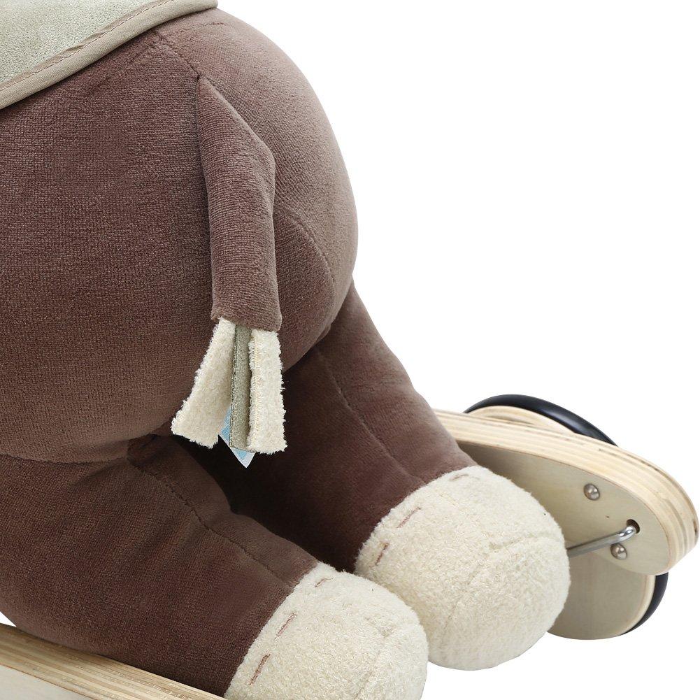 Labebe Child Rocking Horse Plush, Stuffed Animal Rocker Toy, 2 in 1 Blue Elephant Rocker with Wheels for Kid 6-36 Months, Wooden Rocking Horse/Kid Rocking Toy/Baby Rocking Horse/Rocker/Animal Ride on HY1918060A-BLW-X