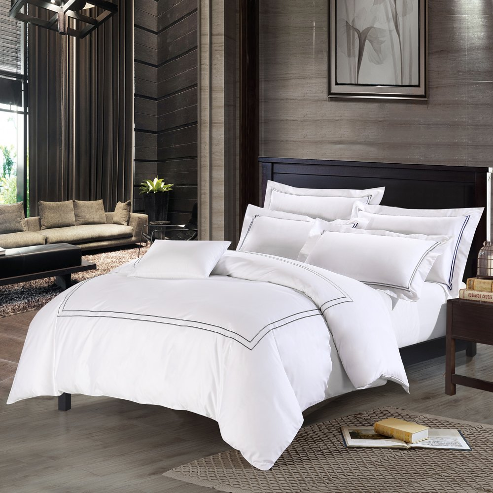 Deep Sleep Home 250 Thread Count Cotton Sateen Duvet Cover 3 – Piece White Background (Queen, Grey)