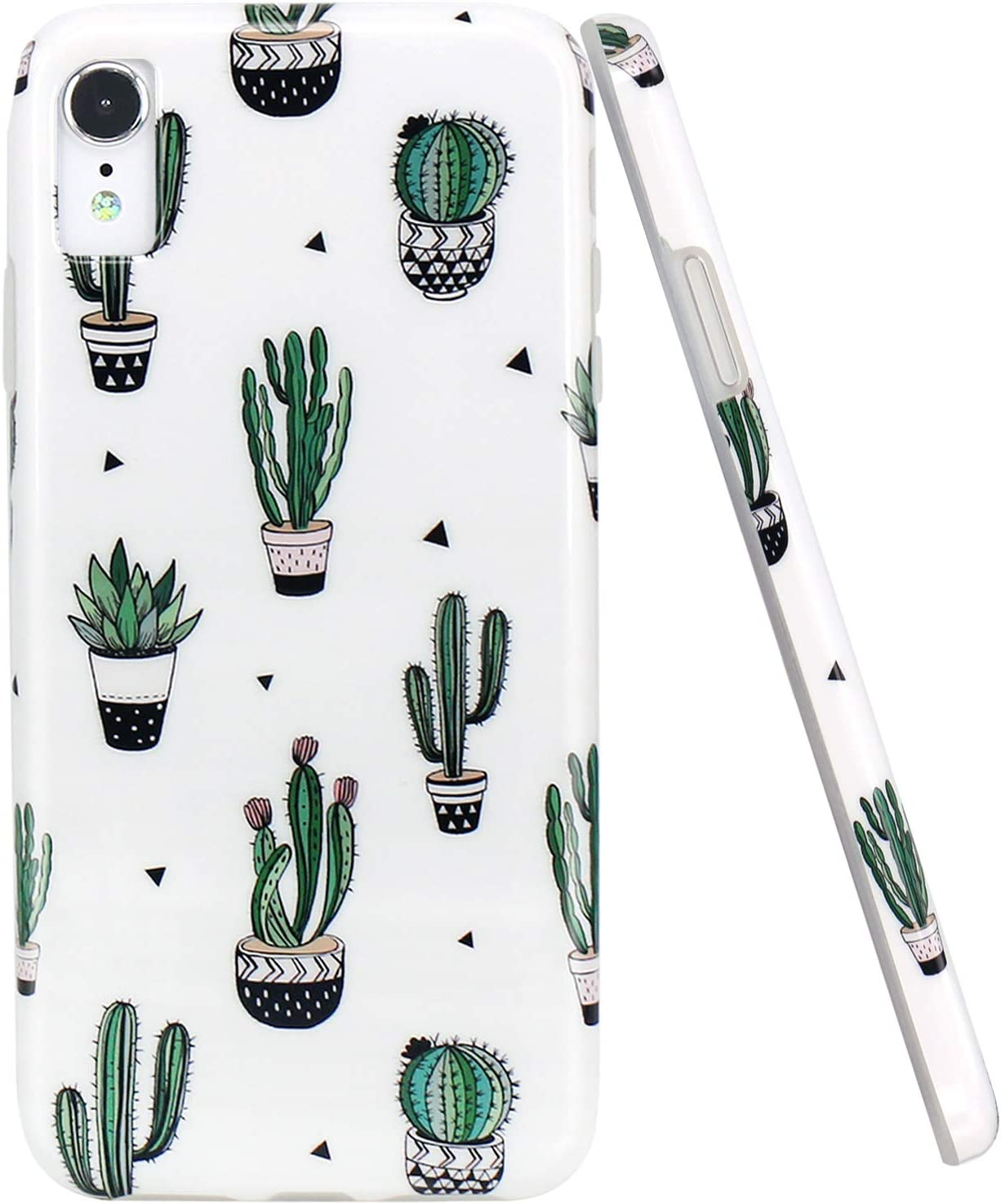 JAHOLAN Compatible iPhone XR Case Cute Green Cactus Design Clear Bumper TPU Soft Rubber Silicone Cover Phone Case for iPhone XR 2018 6.1 inch