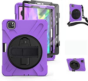 iPad Pro 11 2020 Case with 360 Rotatable Stand | TSQ iPad Pro 11 Case 2nd Generation 2020& 2018 Full Body Heavy Dropproof Defender Case iPad Pro 11 Accessories with Hand& Shoulder Strap | Purple