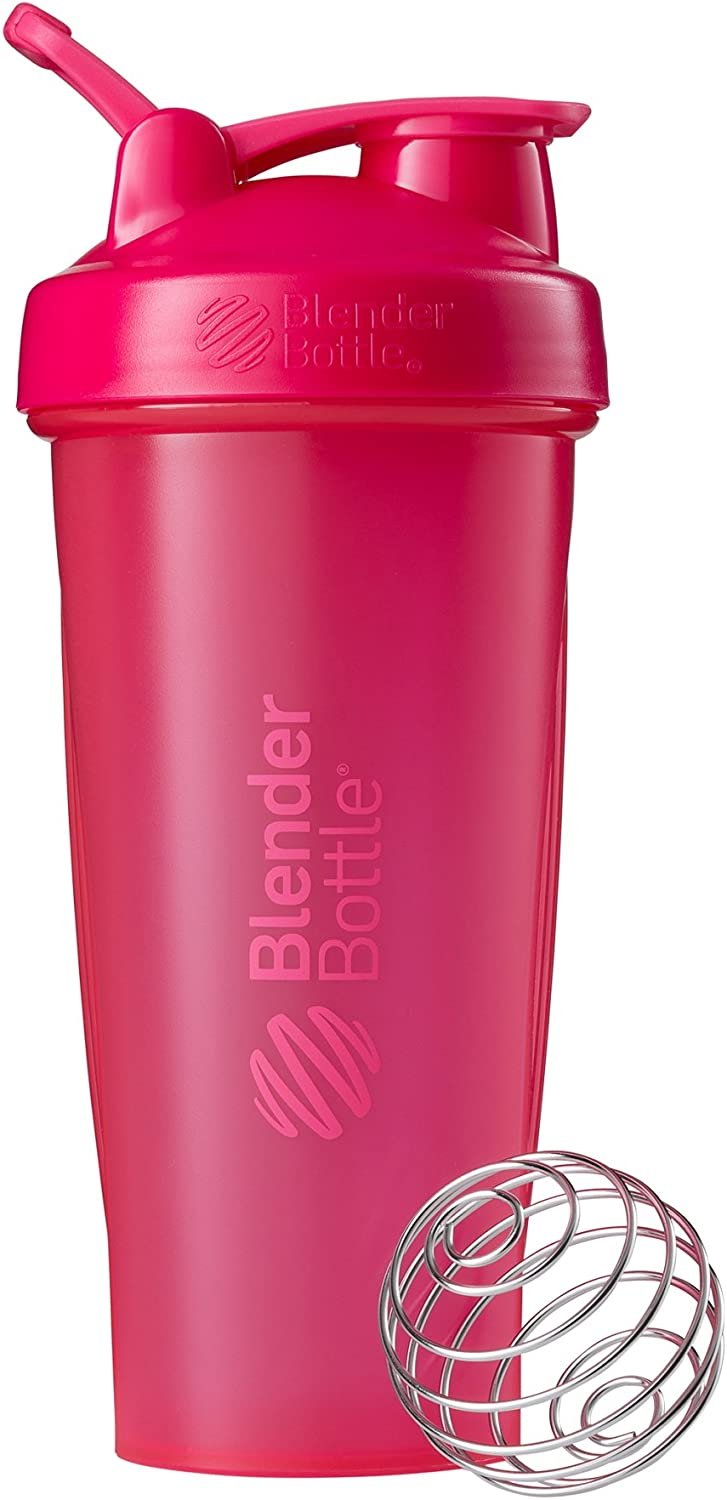 BlenderBottle Classic Shaker Bottle Perfect for Protein Shakes and Pre Workout, 28-Ounce, Pink