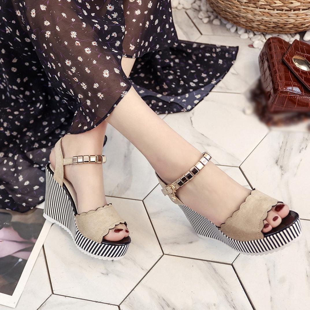 Clearance Summer shoes,AIMTOPPY Women Wedge Sandals Word Buckle Fashion High Heel Open Toe Fashion Buckle Studded Sandals (US:5, Beige) B07DC348WW US:5|Beige f475d7