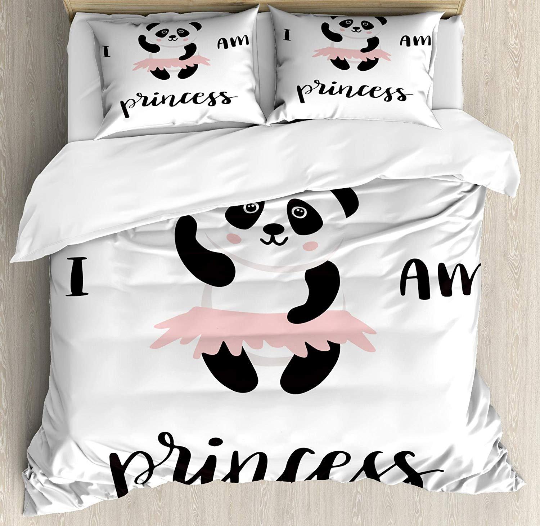 Teather I am a Princess 寝具4点セット キッズ/大人/ティーン/子供用 楽しいバレリーナパンダ ピンクスカートのダンスに 赤ちゃん 女の子 フル TEA2018/10/30-12412 B07K184K1W スタイル3 フル