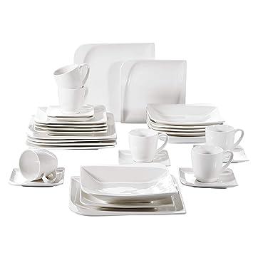 Vancasso Cloris 30 Teilig Porzellan Tafelservice Weiß Eckiges