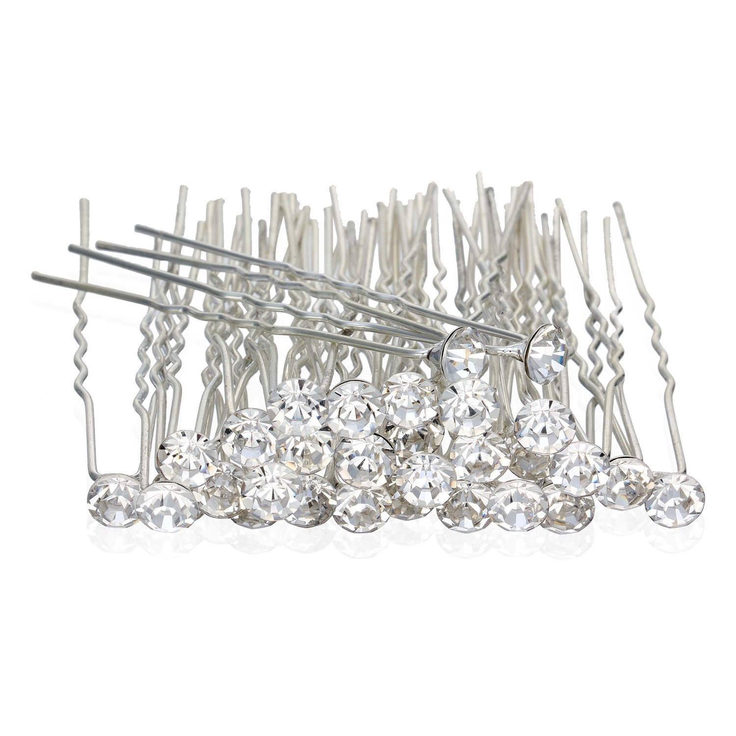Nymph Code Bridal Clear Crystal Rhinestone Hair Pins Clips Decorative Wedding Flower for Women (30