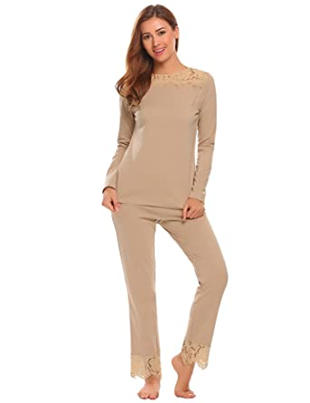 cc9b91d608 Etuoji Women Long Sleeves Pajama Set Lace-Trimmed Sleepwear Tops with Pants