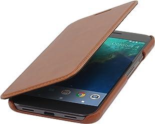 StilGut Book Type Case , custodia in pelle cover per Google Pixel XL originale Chiusura a libro Flip-Case in vera pelle, Cognac