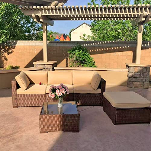 Patiorama 5 Pieces Outdoor Furniture Sets Patio Sectional Furniture, Outdoor Backyard Porch Garden Poolside Balcony Furniture Sets Brown and Beige