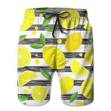 ffa7cf13b203 Men's Swim Trunks Lemons Pattern Fast Dry Ultra-light Ventilation ...
