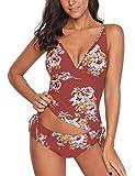 ACKKIA Women's Printed Wrap V Neck Tankini Set Bathing Suit Two Pieces Swimsuit