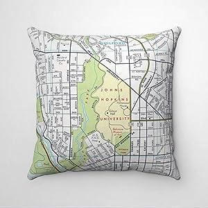BYRON HOYLE Johns Hopkins University Map Cushion Cover,Throw Pillow Cover,Rustic Linen Decorative Lumbar Pillowcase for Chair Room Sofa car,Home Decor,Housewarming 18x18 Inch