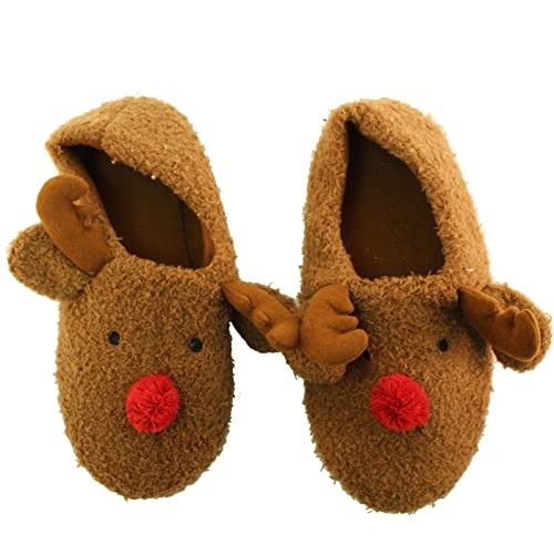 7afe0766b7eb Rudolph Reindeer Nonslip Polar Fuzzy Furry House Slippers Bootie Socks  Brown L XL