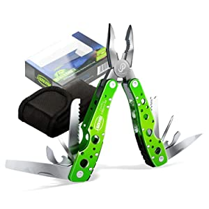 Jakemy Multitool, Portable Folding Pocket Knife 10 in 1 with Pliers, Screwdriver, Cutter, Sheath, Multi Purpose Stainless Steel Survival Tool for Camping, Fishing, Hiking, Best Gift for Husband, kid
