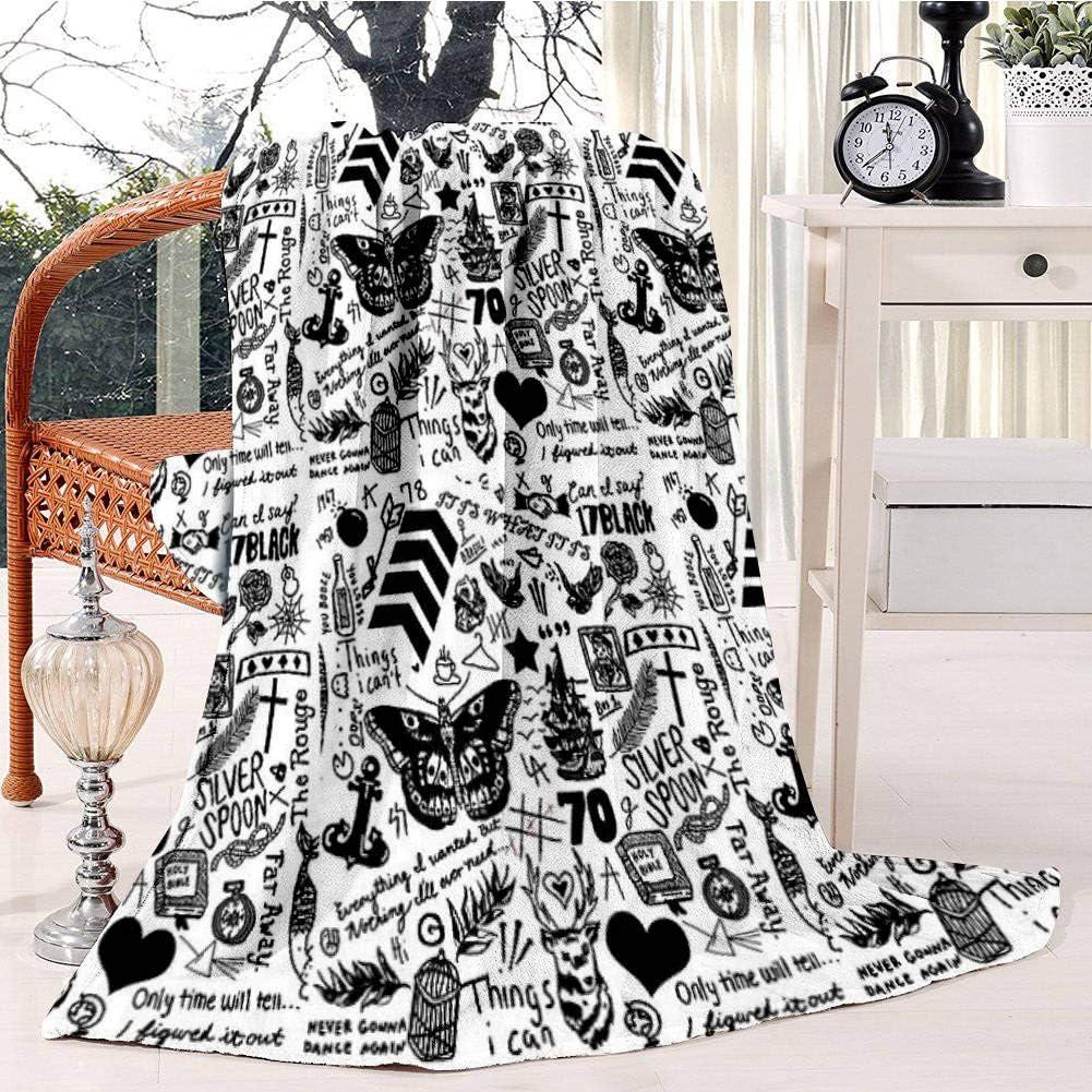 Max 69% OFF 1D Tattoos Updated 2015 Fleece Blanket Blank Under blast sales TV Soft Plush Throw
