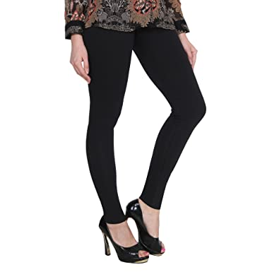 22cb0a16887249 Image Unavailable. Image not available for. Colour: NICE CREATIONS Ankle  Length Black Cotton Lycra Premium Leggings for Women