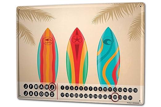 Calendario perpetuo Agencia Viajes Vacaciones Tablas de surf Metal Imantado