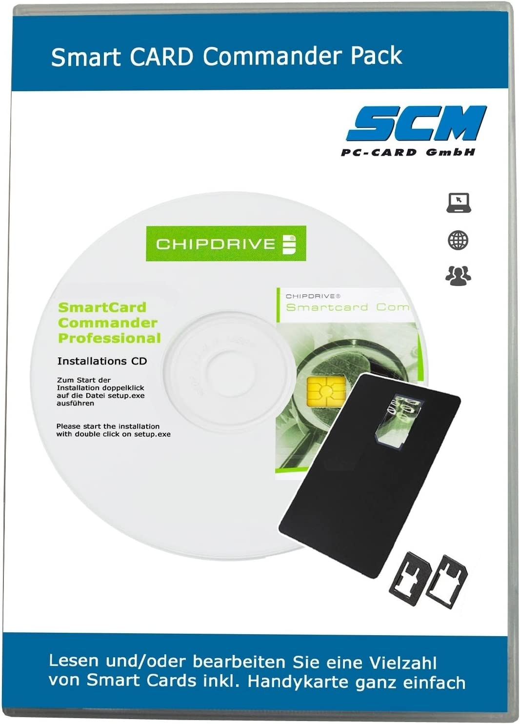 Smart Card Commander Pack - chip Drive Software Smart Card Commander PROF PLUS MINI adaptador de tarjeta SIM: Amazon.es: Informática
