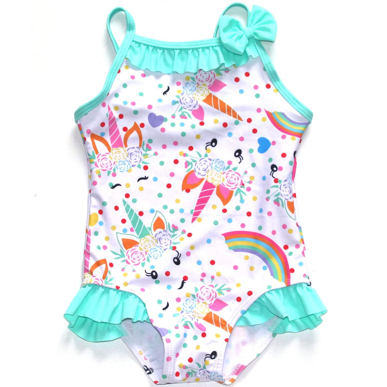 Girls Rainbow Unicorn Swimsuits One Piece Swimwear Adjustable Shoulder Strap Bathing Suit 85(18M) by QLIyang