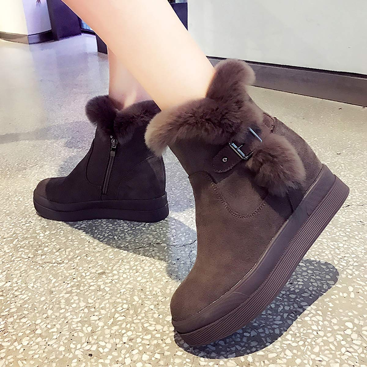 Fad-J Womens Shoes Matte Leather Thick Cotton Boots,Brown,36 Winter Thick Snow Boots