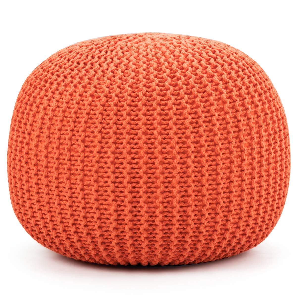 Giantex Pouf Round Knitted Hand Knitted Dori Cable W/Handmade Cotton Braid Cord, Home Decorative Seat for Guests, Ideal for Living Room, Bedroom, Kid's Room Floor Ottoman Footrest (Orange) by Giantex