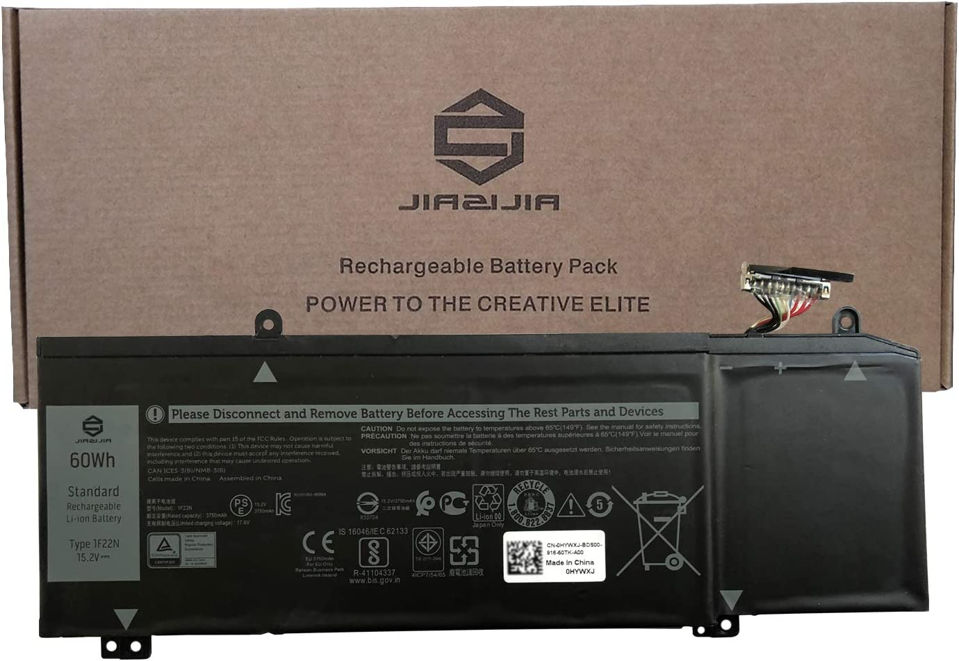 JIAZIJIA 1F22N Laptop Battery Replacement for Dell G5 5590 G7 7590 7790 Alienware M15 2018 ALW15M-D1735R M17 Series Notebook 08622M 8622M 0HYWXJ HYWXJ 0JJPFK JJPFK Black 15.2V 60Wh 3750mAh