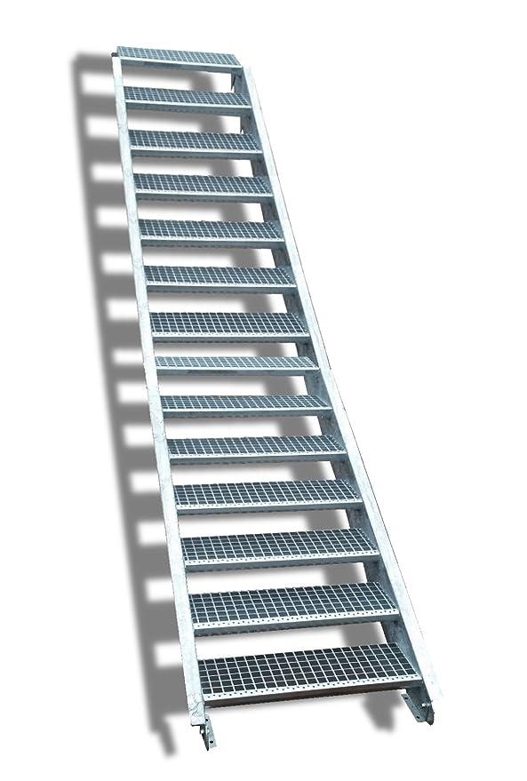 Stabile Industrietreppe f/ür den Au/ßenbereich Inklusive Zubeh/ör Wangentreppe Robuste Au/ßentreppe 4 Stufen Stahltreppe mit einseitigem Gel/änder Breite 90 cm Geschossh/öhe 55-85cm